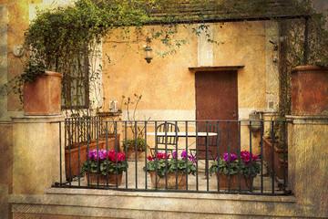 Kleine Terrasse in Rom, Italien