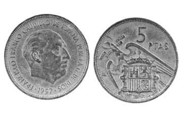 Old Spanish coin of 5 pesetas.1957