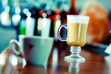 Irish coffee at the bar table