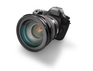 Camera. Black digital camera isolated on white