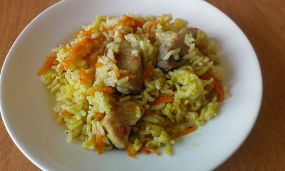 Pilau on white plate