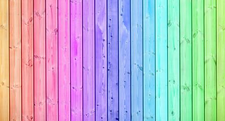 fond bois coloré, palissade de couleurs