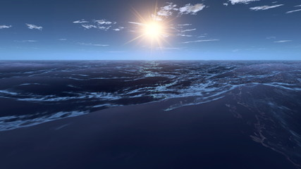 3d animation seascape at sunset