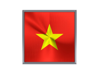 Square metal button with flag of vietnam
