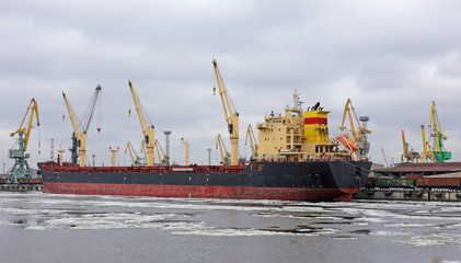 the ship is a bulk carrier at berth