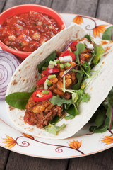 Tortilla wrap with chili, beans and ground beef
