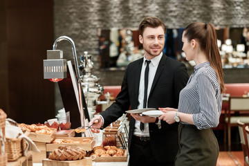 Bread and croissants at the business buffet restaurant