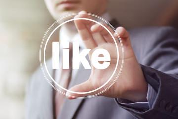 Business button like virtual icon.