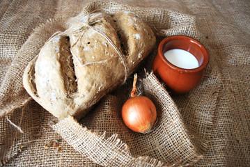 fresh homemade bread milk and onion