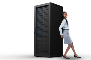 Young businesswoman pushing a panel with her back