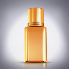 Golden nail polish on grey background.