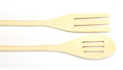 wooden spoons on a white background isolated