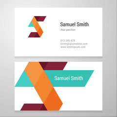 Modern letter S Business card template