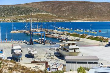 yacht repair at shipyard