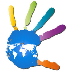 Conceptual children painted hand print and map isolated