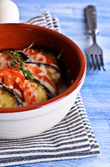 Casserole of eggplant and tomato with cheese