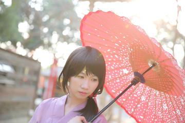 The girl with japanese yukata