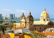Historic center of Cartagena, Colombia with the Caribbean Sea