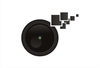 lens camera logo vector