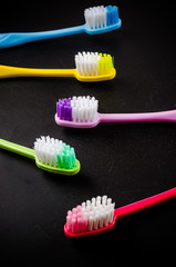 Set of colorful toothbrushs