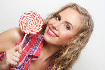young girl with lolipop