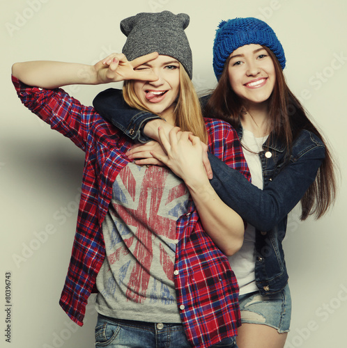 two young girl friends - 80396743