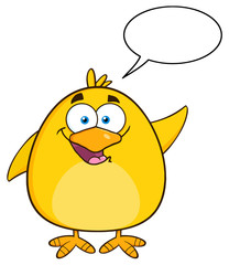 Happy Yellow Chick Cartoon Character Waving With Speech Bubble