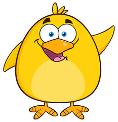 Happy Yellow Chick Cartoon Character Waving