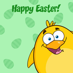 Happy Easter With Smiling Yellow Chick Looking From A Corner