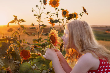 happy girl and sunflower