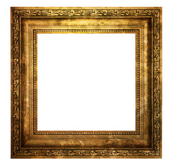 Hollow wooden frame isolated on white