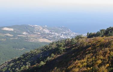 On  AI-Petri plateau,  top view of  coast , Crimea.