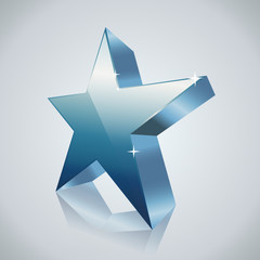 blue star with reflection