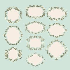 set of vintage doodle frames