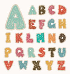alpabet letters retro drawing