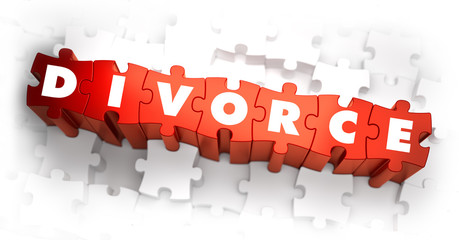 Divorce - White Word on Red Puzzles.