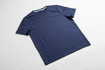 Dark blue tshirt template ready for your graphic design.