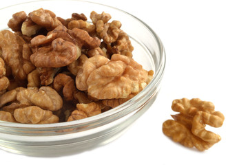 walnuts in a glass dish