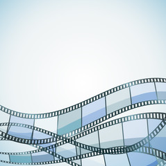 blue cinema background with color filmstrip