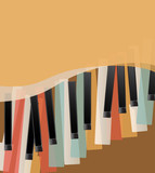 piano keys retro orange background with space for text