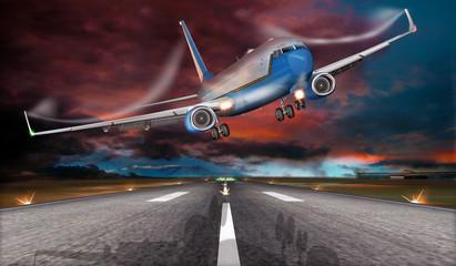 Passagierflugzeug beim Fehlanflug  mit starken Seitenwind