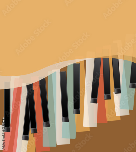 piano keys retro orange background with space for text - 80399378