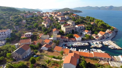 Aerial footage of harbour in Croatia
