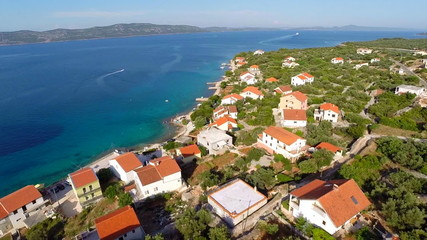 Aerial footage of village near sea