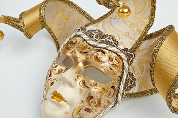 golden mask Venetian carnival close up isolated