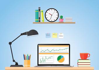 Computer desk, workplace cartoon, business concept