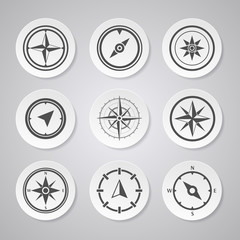 Wind rose compass flat vector symbols set with shadows