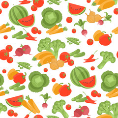 Seamless vegetarian vector pattern with different vegetables
