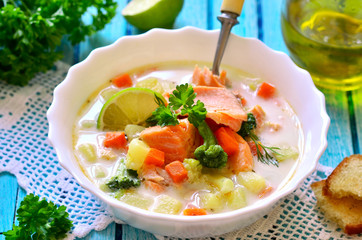 Chowder with trout.