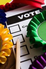 Selection Of Political Rossettes On Ballot Paper For Political E